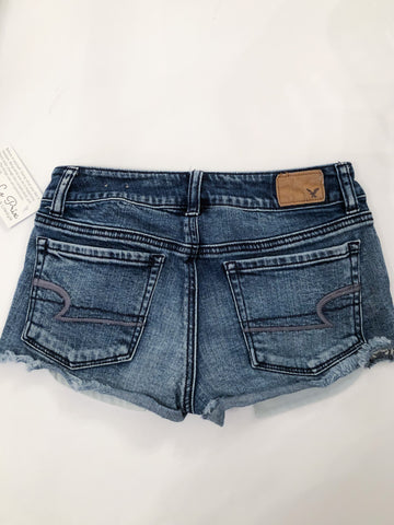 American Eagle Cutoff Lace Stretch Denim Shorts - Size 0