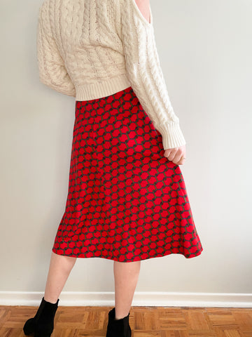 Vintage Roberta di Camerino Red Chain-Link Pure Soft Virgin Wool Midi Skirt - XS/S