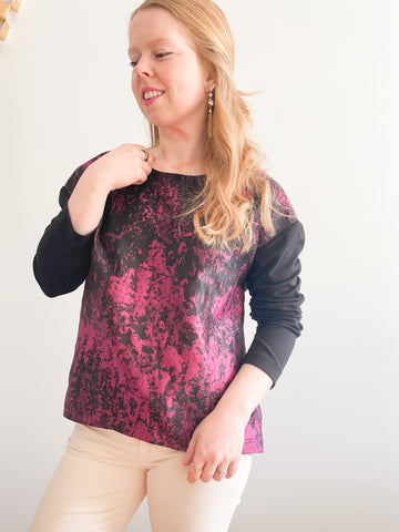 Spanner Opulence Black Magenta Satin Long Sleeve Top - M/L