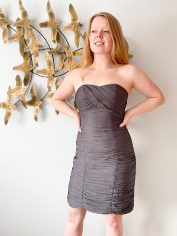 H&M Grey Rouched Sweetheart Strapless Dress - Small