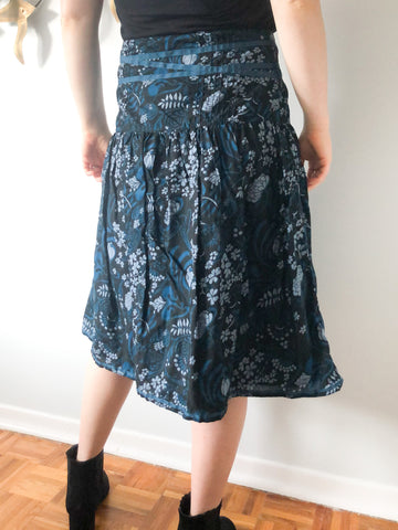 H&M Dark Blue Floral High Waist Tea Length Skirt - Size 10