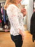 Vintage Luka Pandana White Lace 3/4 Sleeve Top - Le Prix Fashion & Consulting
