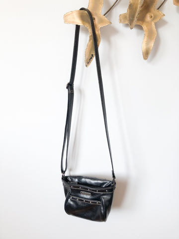 Rosetti Black Faux Leather Studded Cross Body Bag