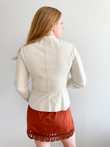 Danier White Genuine Leather Moto Jacket - XS/S