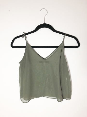 Zara Olive Green Cropped Sheer Tank Top - XS