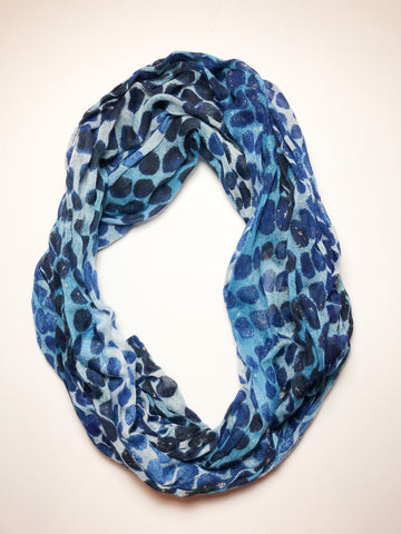 Blue Polkadot and Gold Foil Infinity Scarf