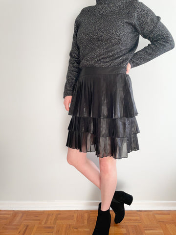 DKNY Black Sheen Pleated Tiered Skirt - Large