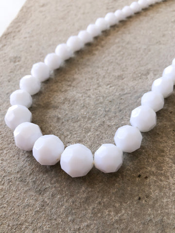White Graduated Multifaceted Bead Long Necklace