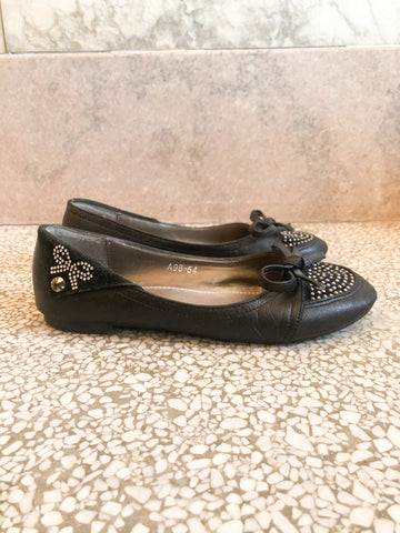 Mochi Black Sparkle Bow Flats - Size 37 - Le Prix Fashion & Consulting
