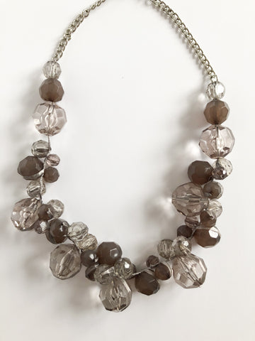 Dusty Grey Purple Statement Bead Necklace - Le Prix Fashion & Consulting