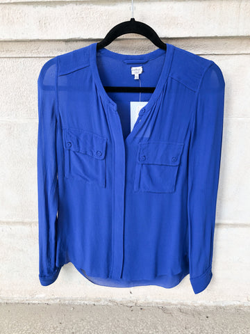 Wilfred Royal Blue 100% Silk Blouse - XXS