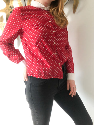 Red Polkadot Round Collar 100% Cotton Button Up Top - Small