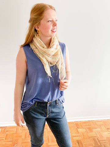 Spanish Wheat Metallic Stripe Fringe Square Scarf - Le Prix Fashion & Consulting
