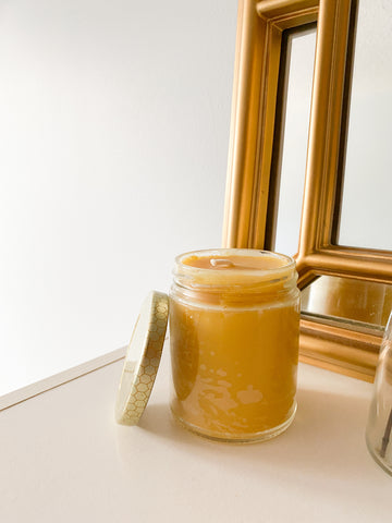 100% Beeswax Local Organic & Handcrafted Honeycomb Jar - 30+ Hrs Burn Time