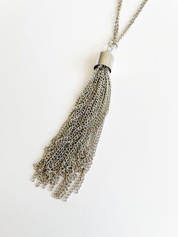 Silver Chain Tassel Long Necklace