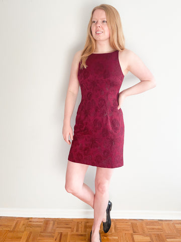 Wine Red Metallic Floral Sleeveless Sheath Dress - XS/S