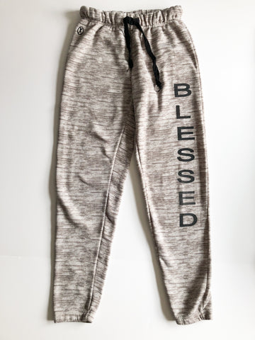 Mikk Athletics Blessed Heathered Taupe High Rise Jogger Fleece Lined Sweatpants - Small