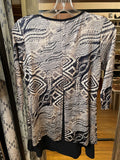 Libra Navy Grey and White Patterned 3/4 Sleeve and Zip Flare Tunic Dress - XS/S