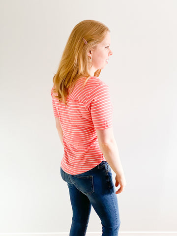 Eco Pretty Columbia Upcycled Coral Striped Top - XS/S - Le Prix Fashion & Consulting