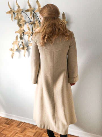 Beige Vintage Wool Ribbed Collar Button Up Coat - Small