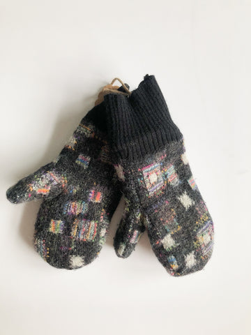 Handmade Wool Squares Upcycled Mittens