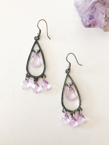 Pewter Lilac Crystal Dangle Earrings