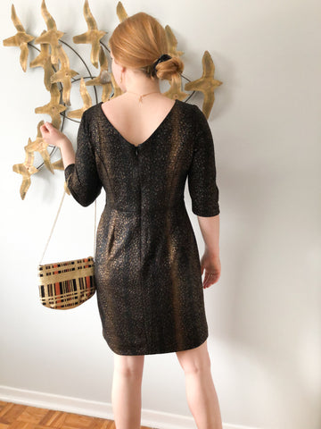 Alex Evenings Black and Gold Lamé 3/4 Sleeve Party Dress - Size 8 Petite