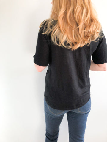 Ninety-Eight Black Bamboo Cotton Knit V-Neck T-Shirt Made In Canada - XS/S