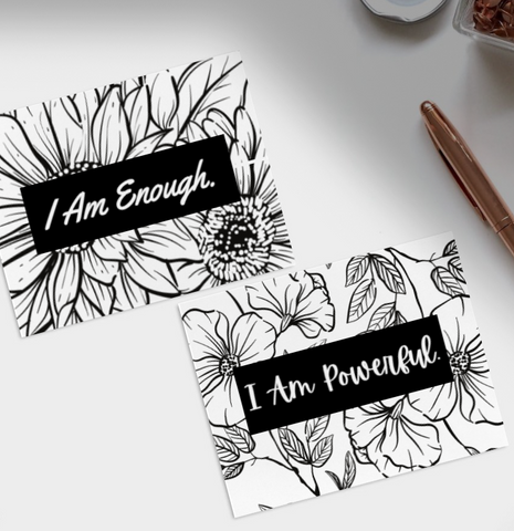 Positive Affirmation Self-Love Colouring Postcard Deck - 16 Unique Prints