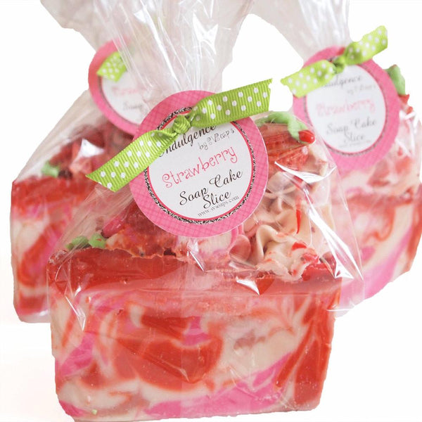 Strawberry Bliss Handmade Artisan Vegan Soap Cake Slice