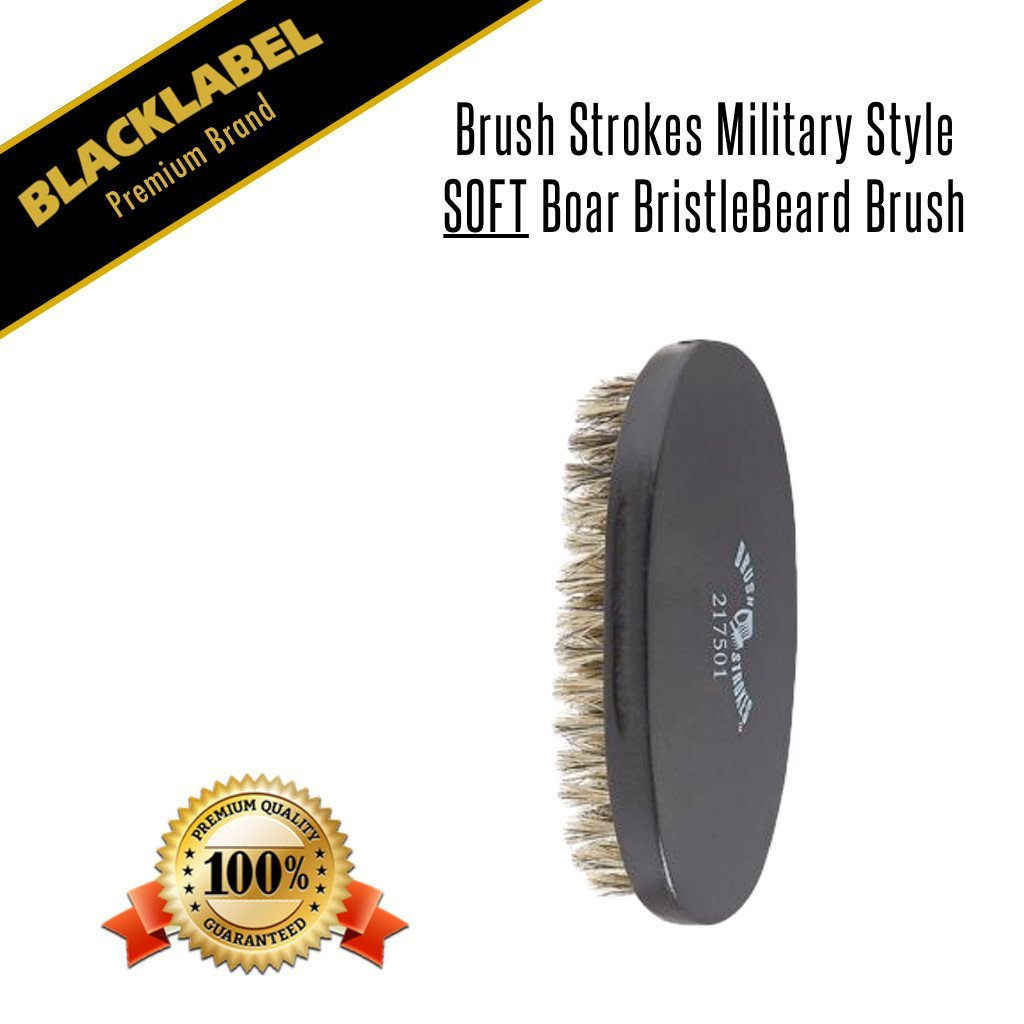 Brush Strokes Military Style Soft Boar Bristle Beard Brush - Blacklabel Beard Company
