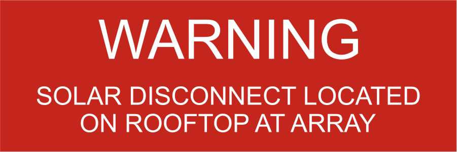 LB-040025-103 - Warning Solar Disconnect Located On Rooftop At Array. - 1x3 Inches - Red Background with White Text, Plastic.-Accurate Signs and Engraving - Solar Tags