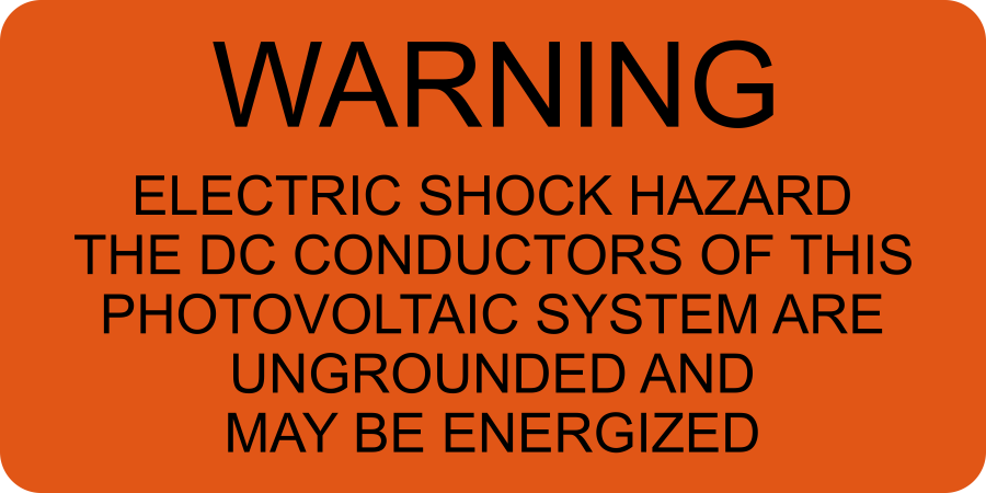 LB-070016-371 - Warning The DC Conductors - 1.5x3 Inches - Orange Background with Black Text, Decal.-Accurate Signs and Engraving - Solar Tags