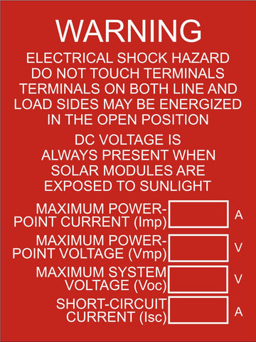 LB-160014-103 - DC Disconnect and Inverters Combined Label, Warning Electrical Shock and DC Voltage - 4x3 Inches - Red Background with White Text, Plastic.-Accurate Signs and Engraving - Solar Tags