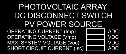 LB-30A004-133 - Photovoltaic Array DC Disconnect Switch PV Power Source with Values, Black Boxes - 1.5x3.5 Inches - Black Background with White Text, Plastic.-Accurate Signs and Engraving - Solar Tags
