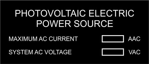 LB-30A006-133 - Photovoltaic Electric Power Source with Values, Black Boxes - 1.5x3.5 Inches - Black Background with White Text, Plastic.-Accurate Signs and Engraving - Solar Tags