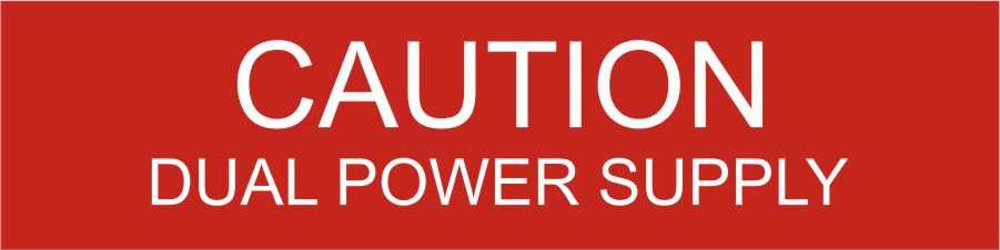 LB-050080-103 - Caution Dual Power Supply - .75x3 Inches - Red Background with White Text, Plastic.-Accurate Signs and Engraving - Solar Tags