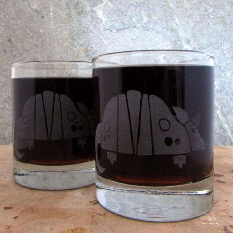 Etched Old Fashioned Cocktail Glass | Armadillo