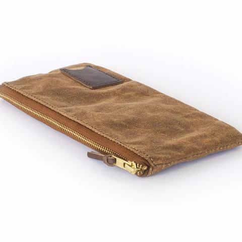 Clutch Zipper Purse | Brown Waxed Canvas