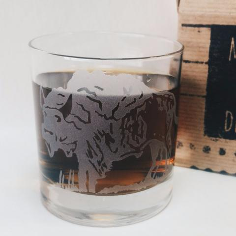 Etched Old Fashioned Cocktail Glass | Bison