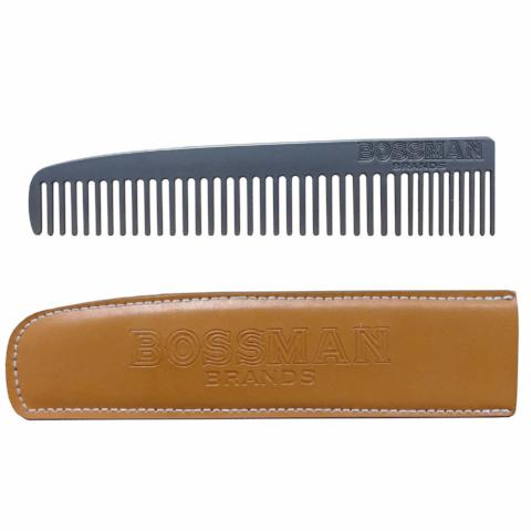 Bossman | Metal Comb with Leather Case