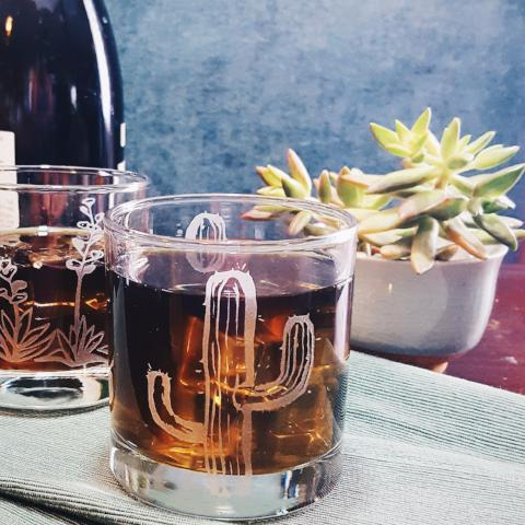 Etched Old Fashioned Cocktail Glass | Cactus