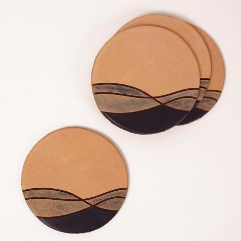 Jig Leather Coasters | Ocean Pattern (Set of 4)
