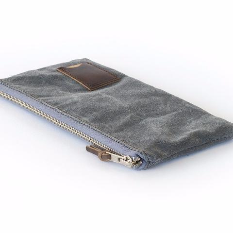 Clutch Zipper Purse |  Slate Gray Waxed Canvas