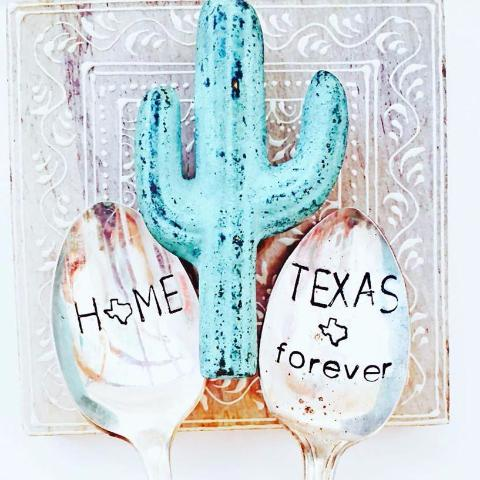 Stamped Vintage Spoons | Texas Home Forever (Set of Two)