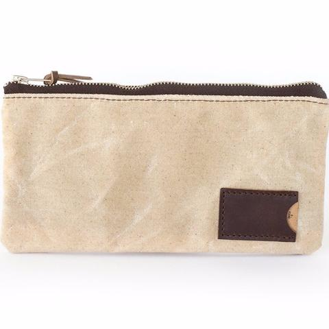 Clutch Zipper Purse |  Natural Ivory Waxed Canvas