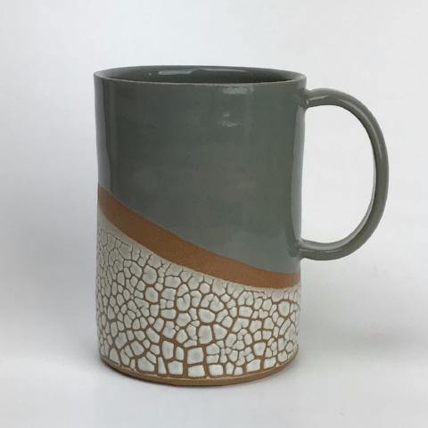 Coffee Mug | Sage Gray | Crackle Glaze Stoneware