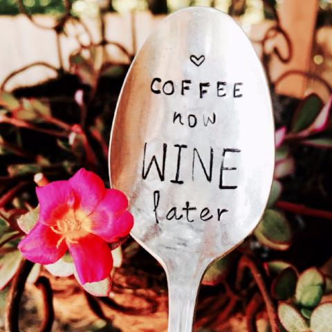 Stamped Vintage Spoon | Coffee Now Wine Later