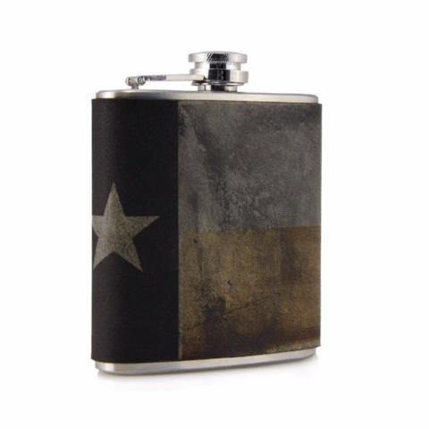 Leather Hip Flask | Texas Flag