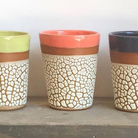 Tumblers | Red | Crackle Glaze Stoneware